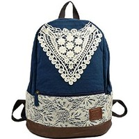 Samaz 2014 Fashionable Outdoor Canvas Backpack Rucksack Korean Lace Shoulder School Backpacks for Women Teen girls