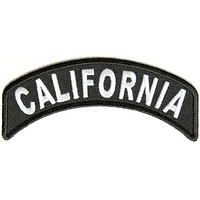 California State White on Black Small Rocker Patch Front for Biker Jacket Vest