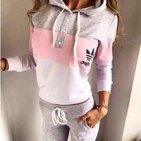 Women's Fashion Stylish Patchwork Hats Hoodies Pants Casual Bottom & Top Set [7832933959]