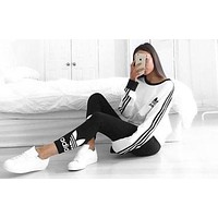 """Adidas"" Women Fashion Top Sweater Pullover Sweatshirt Stretch Leggings Sweatpants F"