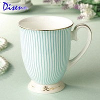 British Purified Bone China Coffee Cups And Mug Gold Plating Ceramic Tea Cup Fashion Striped Design