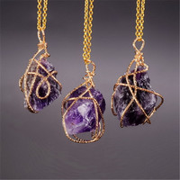 Handmade Trendy Natural Stone Amethyst Necklace Agate Mortar Drusy Crystal Clear Quartz Necklace Gold Chain Necklace Women Men