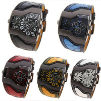 Men Military Sports Watch Dual Movement Quartz Wristwatch with Leather Band