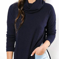 Navy High Neck Side Split Sweater