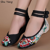 Flat Heel Denim Flats with Embroidery, Soft Sole, Casual Shoes
