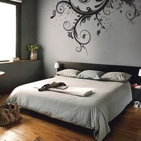 """Stickerbrand© Floral Décor Vinyl Wall Art Flower Ornaments Wall Decal Sticker - Black, 44"""" x 66"""". Easy to Apply & Removable. Includes FREE Application Squeegee"""