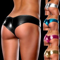 Sexy Shorts Panties For Women Bright Skinned Nightclub Stage Performance Underwear Colorful Leather Plus Size Boyshort Intimates