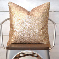 "Champagne Pillow Cover - 18"" x 18"" - Gold Pillow, Throw Pillow, Decorative Pillow, Champagne Sequin Pillow, Sparkle Pillow"