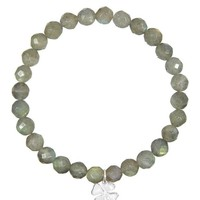 Four Leaf Clover Labradorite Beaded Bracelet