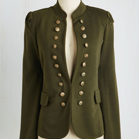 Military Mid-length I Glam Hardly Believe It Jacket in Olive Size S by ModCloth