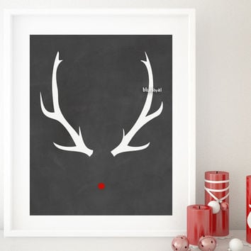 Red nose Rudolph print in chalkboard style