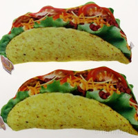 Set 2 Taco Pillows Food Fight Soft Realistic Lettuce Tomato Beef Cheese Throw