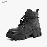 lv louis vuitton trending womens men black leather side zip lace up ankle boots shoes high boots