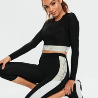 Missguided - Active Black Snake Print Long Sleeve Crop Top