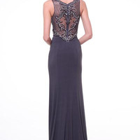 PRIMA 17-8750 Gray Beaded Sheer Back Prom Dress Evening Gown