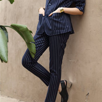 Blue Striped Pencil Pants