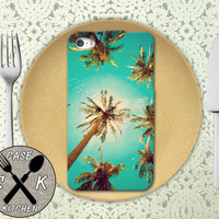 Palm Tree California Sky Cool Tumblr Inspired Custom Rubber Tough Phone Case For The iPhone 4 and 4s and iPhone 5 and 5s and 5c