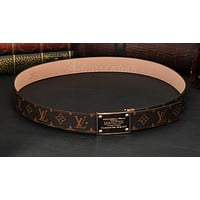 LOUIS VUITTONAAA MEN LEATHER BELT SQUARE BUCKLE BELTS