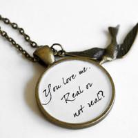 Hunger Games SPECIAL Debut-Peeta Quote Pendant Necklace-You Love Me Real or Not Real