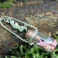 Mermaid Song ~ Pink Coral, Aquamarine and tiny shell with Mermaid charm vial necklace
