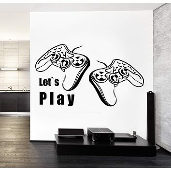 Joysticks Vinyl Decal Wall StickerLet's Play Quote Gaming Gamer's Playroom Decor Unique Gift (z3212)