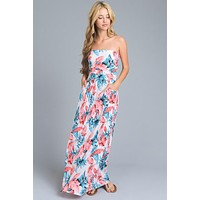 Summer Stunner Strapless Maxi Dress - Coral and Green Leaf Print