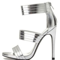 Pleated Triple Band Metallic High Heels by Charlotte Russe