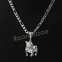 Italian .925 Sterling Silver BULLDOG Pendant 5mm Figaro Necklace S03