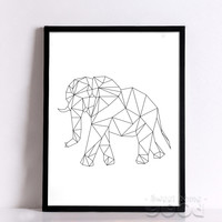 Geometric Elephant Canvas Art Print Poster, Wall Pictures for Home Decoration, Wall decor FA221-13