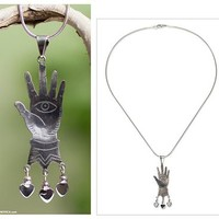 Sterling silver pendant necklace, 'All-Seeing Eye'