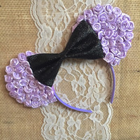 Floral minnie ears violet purple lavender and glittery black bow small flowers