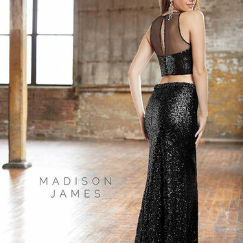 Madison James 15-133 Sequin Two Piece Prom Dress
