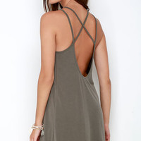 Loyal Ally Taupe Backless Dress