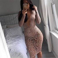 2017 Fashion Black Gold Sequined Skirt Women Sexy Transparent Celebrity High Waist Skirts Sexy Night Club Bodycon Midi Skirt