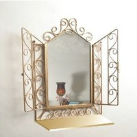 Gold Iron Wall Mirror with See Through Doors