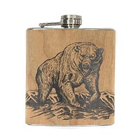 Wood Flask Grizzly Bear