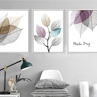 Modern Simple Small Fresh Leave 3 Pieces Decorative Painting Modular Picture Wall Art Canvas Painting for Living Room No Framed