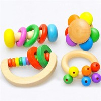 Wooden Childred's Toys Colorful Baby Rattles Grasp Play Game Teething Infant Early Musical Educational Toy Gift For Baby JE05#F