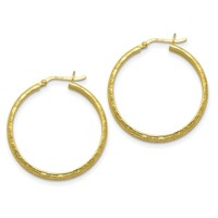 Sterling Silver Gold-flashed Bamboo Patterned 35mm Hoop Earrings QE6689