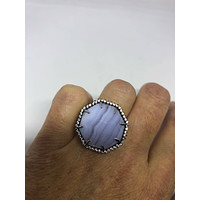 Vintage Genuine Blue Lace Agate 925 Sterling Silver Statement Ring