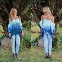 Cold Shoulder Asymmetrical Shirt with Tassels