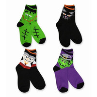 Halloween Socks Kid's In Bulk Scary Faces Multi-colored 4-pack Crew Sale