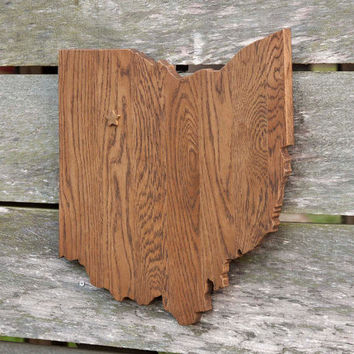 Ohio state shape wood cutout map sign wall art with star or heart.  Repurposed Oak flooring 14x17 in. Wedding Country Cabin Rustic Decor