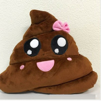 Funny Cushion Poop Emoji Pillow Cute Bolster Pink Bow