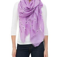 Floral Voile Fringe Scarf, Lilac - Marc Jacobs - Lilac (ONE SIZE)
