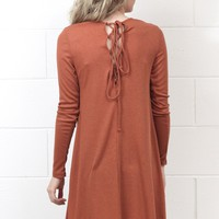 Lace Up Back L/S Ribbed Dress {Rust}