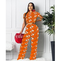 Fendi Women Summer New Fashion More Letter Print Sports Leisure Top And Pants Two Piece Suit Orange