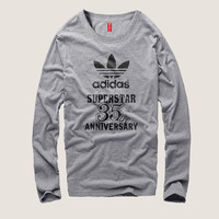 """Adidas"" Men Fashion Casual Clover Digital Letter Print Round Neck Long Sleeve Cotton T-shirt"