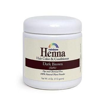 Rainbow Research Henna Hair Color and Conditioner Dark Brown Sable - 4 oz