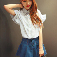 Striped Ruffled Sleeve Blouse And Denim Pleated Skirt